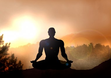Stock Illustration of Meditation on Mountain
