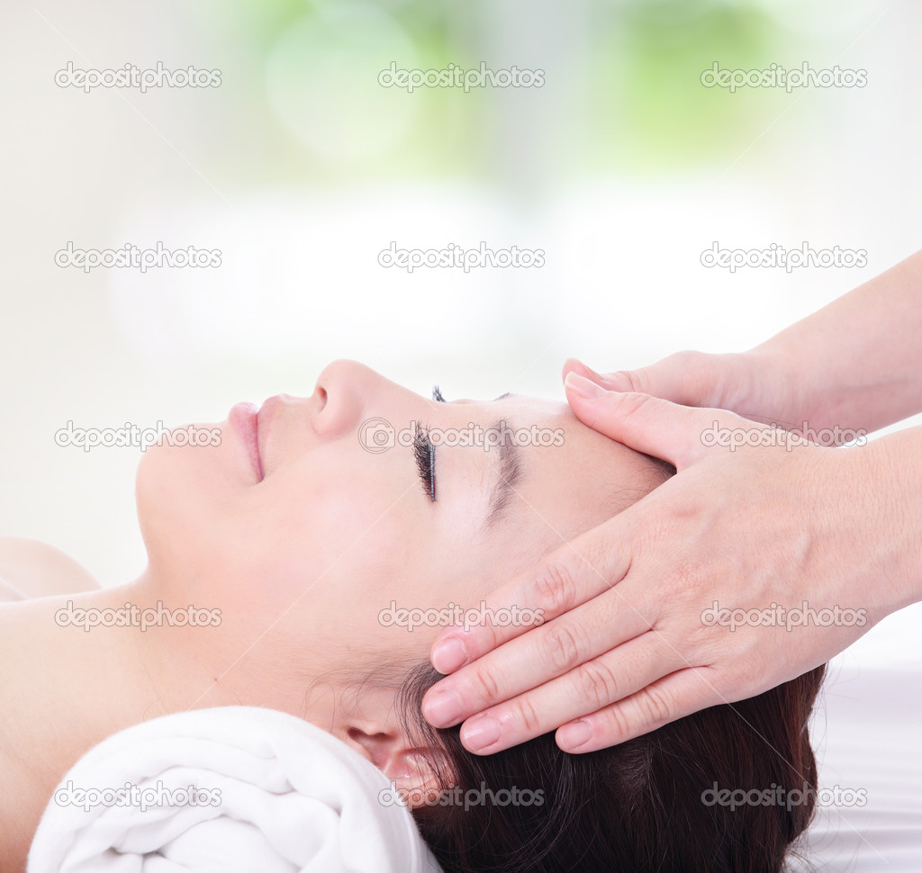Close up of woman in head massage, spa