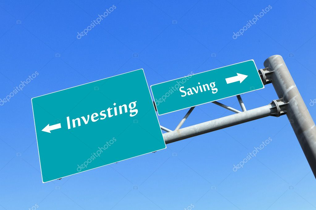 Saving or investing money in road sign