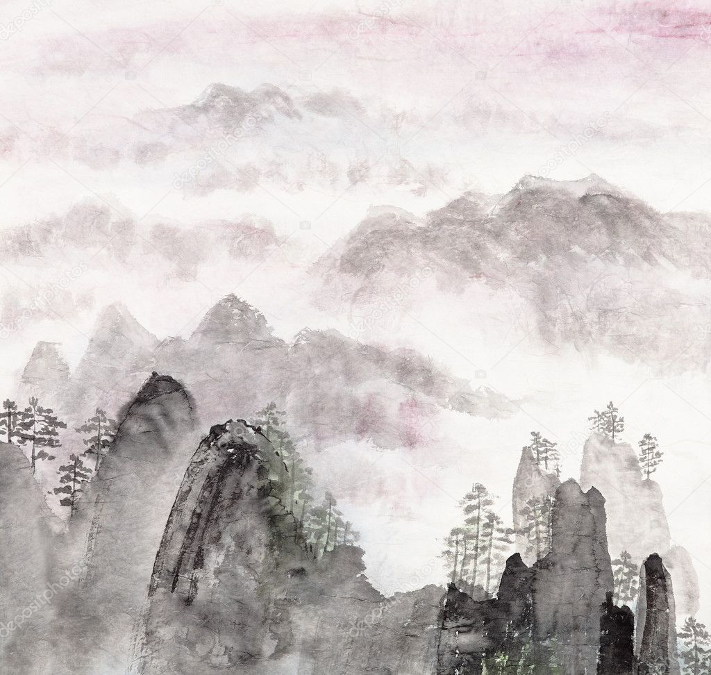 Chinese painting of high mountain landscape