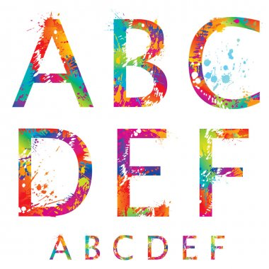 Font - Colorful letters with drops and splashes from A to F. Vec
