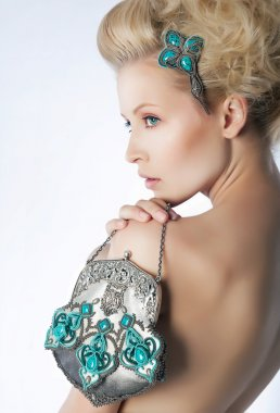 Glamorous naked lady blonde. Gorgeous view