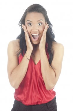 Beautiful young african american woman surprised