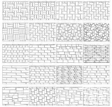 Collection textures of the brickwork for drawing in landscape design