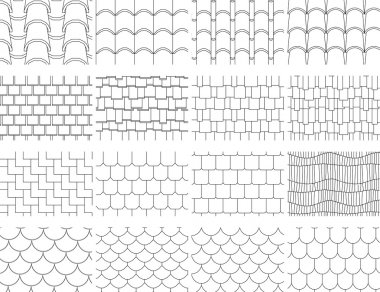 Collection textures of the roofing cover for drawing in design