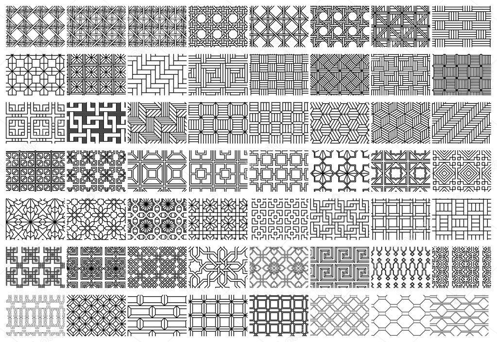 Collection Textures Parquet Drawing Interior Design Stock Vector