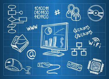Blueprint of computer hardware and information technology symbols