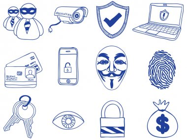 Security and hacking - hand-drawn icons