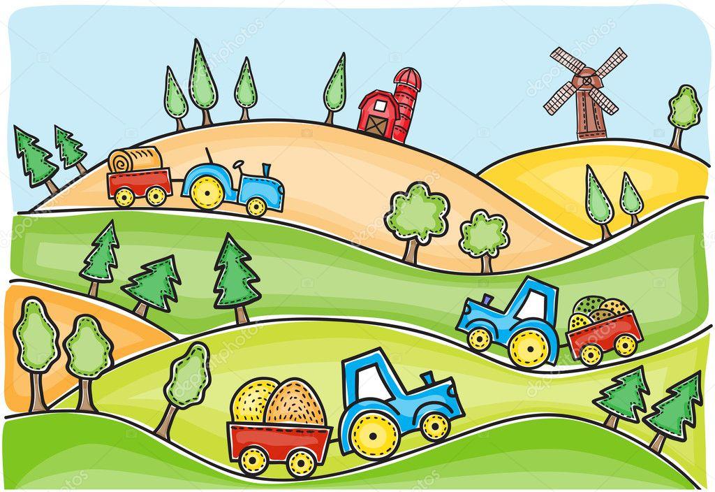 Illustration of harvest time