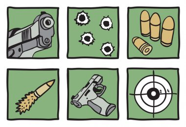 Collection of guns and bullets - hand drawn illustration stock vector