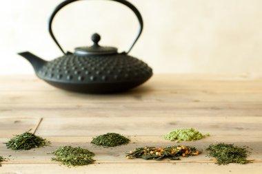 Teapot and Japanese tea sorts