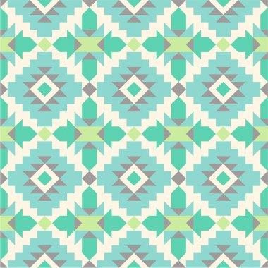 Seamless ethnic pattern in mint tints