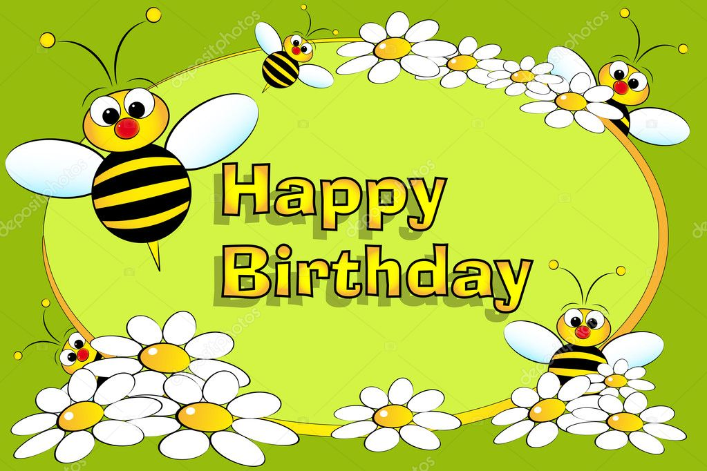 Bee and flowers - Birthday card
