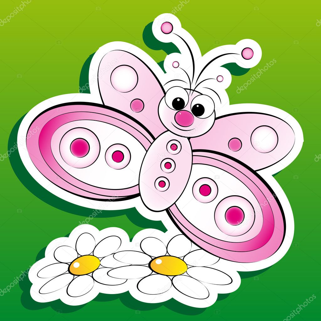 butterfly and flowers kid illustration u2014 stock vector