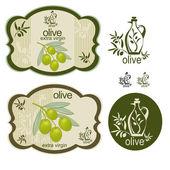 Fotografia set di oliva etichetta verde vintage