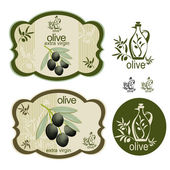 Fotografia set di oliva etichetta vintage nero