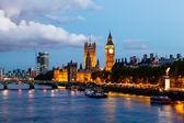 Big Ben és a Westminster Bridge az esti, London, United Ki