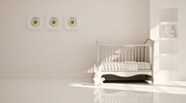 Minimal modern interior of nursery. B&W