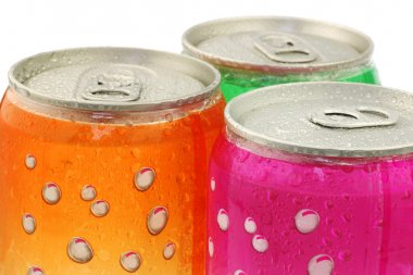Colorful fizzy drink cans