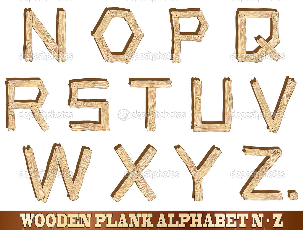 Wooden Plank Alphabet N to Z