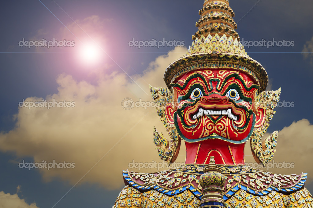Giant Statue In Wat Phra Kaewtemple Of The Emerald Buddha Bang Stock Photo
