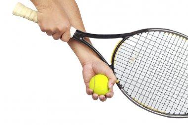 Tennis player hand preparing to take a serve