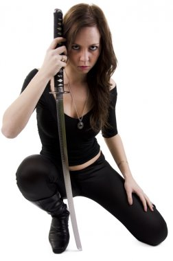 Young woman with katana