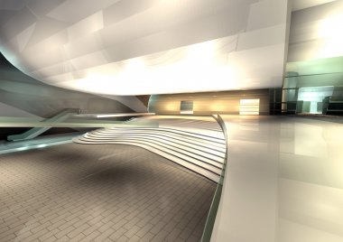 Modern architecture rendered interior