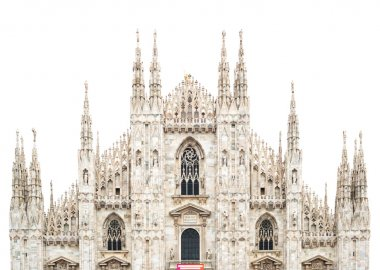 Milan Cathedral Dome upper front isolated on white. Italy, Europ