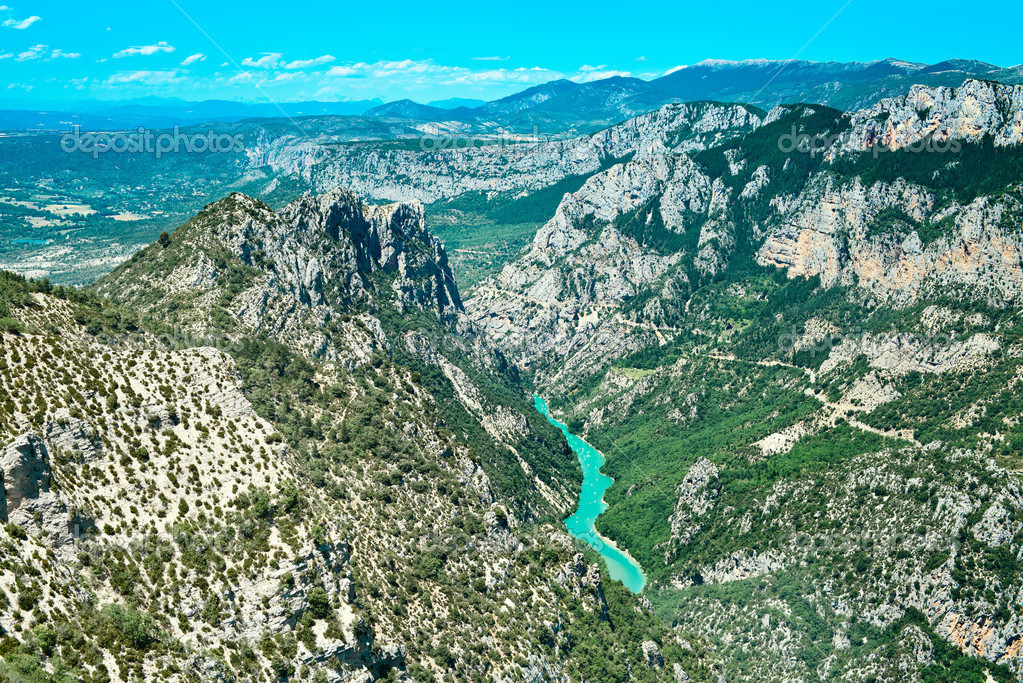 Gorges du Verdon canyon and river aerial view. Alps, Provence, F