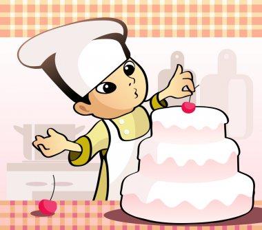 Confectioner baking a cake