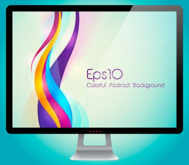 Colorful abstract background with monitor