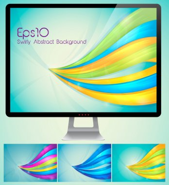 Curvy abstract background with monitor
