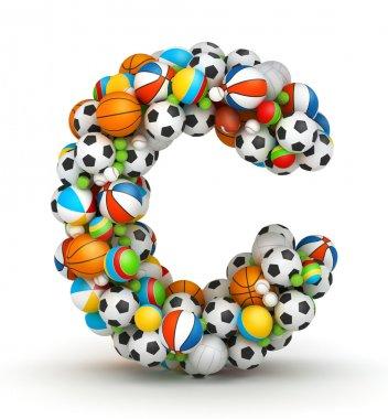Letter C, gaming balls alphabet