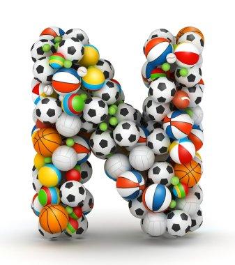 Letter N, gaming balls alphabet