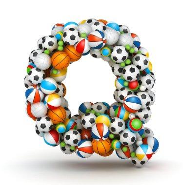 Letter Q, gaming balls alphabet