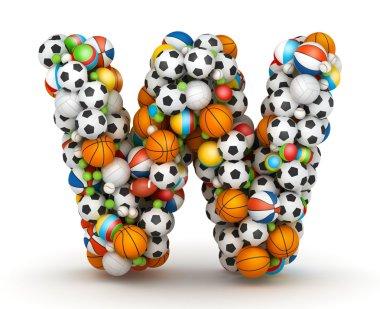 Letter W, gaming balls alphabet