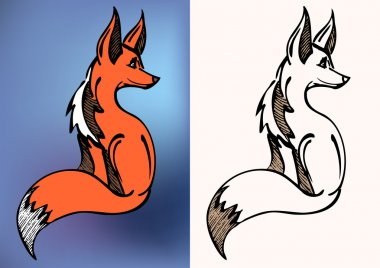 Red and black & white fox symbol