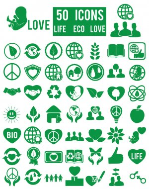 Set of life eco love icons