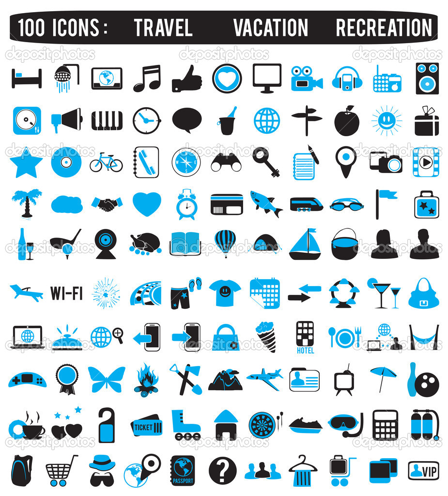 100 icons for travel vacation recreation