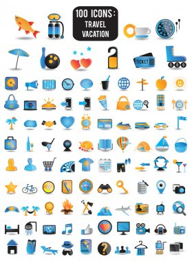 100 detailed icons for travel vacation recreation