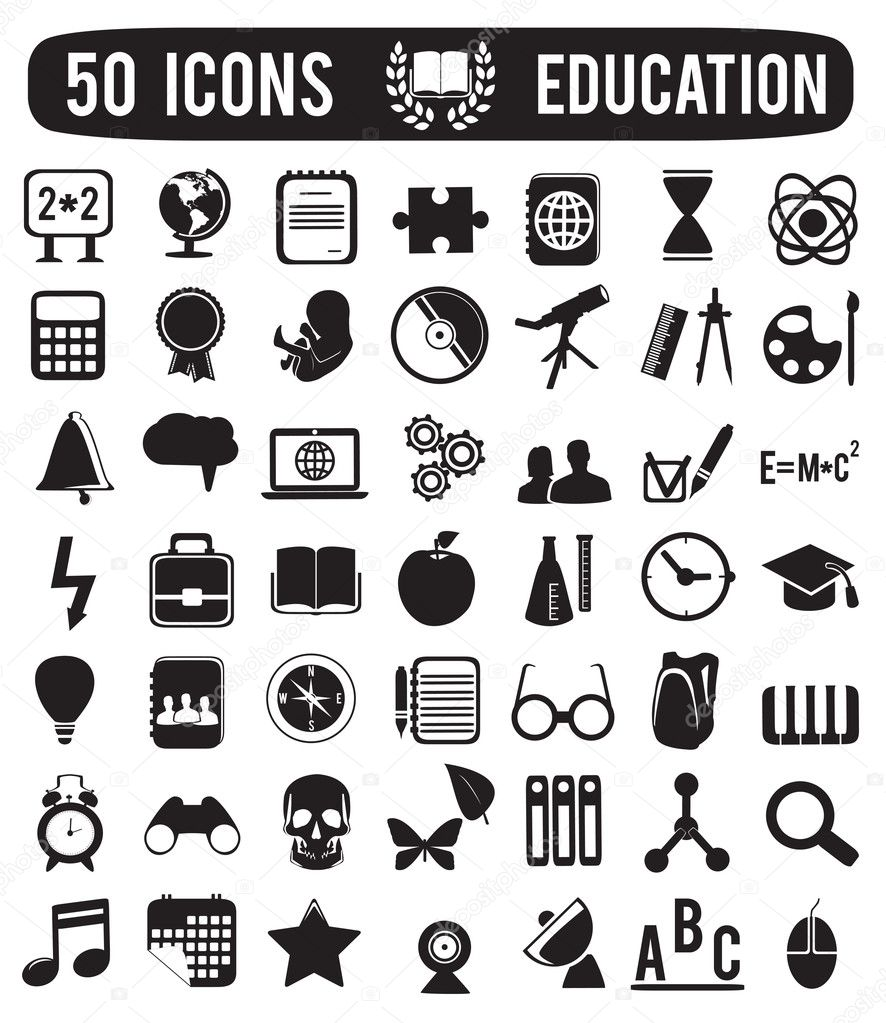 Set of education science icons