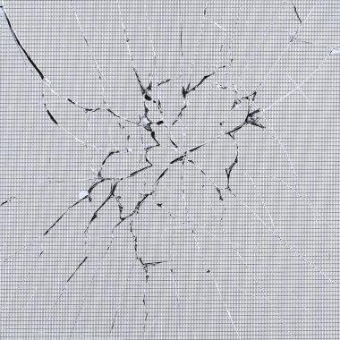 Cracked glass of broken lcd matrix display screen, macro