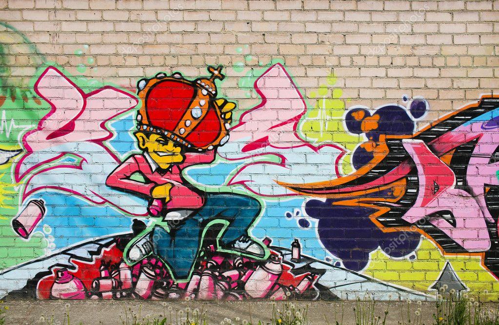 color de graffiti dibujo en pared de ladrillo u foto de apriori