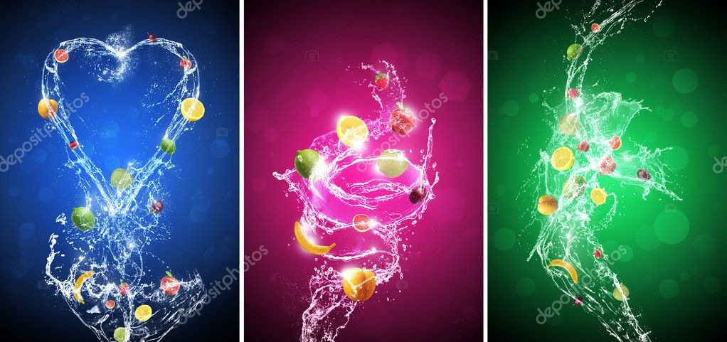 Fruit In Water Splash Background Set