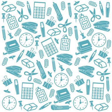 Office supplies seamless background