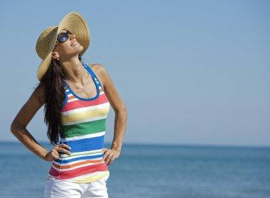 Woman in beach wear