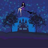 Hexe fliegt im Mondschein auf einem Besen.