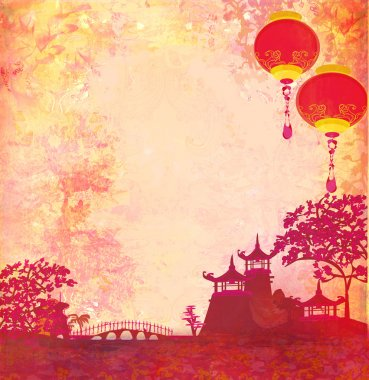Old paper with Asian Landscape and Chinese Lanterns - vintage japanese style background , raster