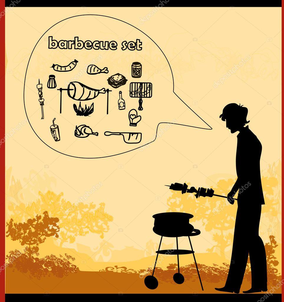 kochen auf seine grill-einladung — stockvektor #11670754, Einladungen